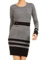 BCX Sweater Dress Gray Black Size XL Junior Striped Button-Detail $59 053