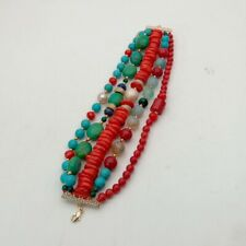 5 Strands Pearl Turquoise Coral Agate Lapis Crystal Bracelet 8""