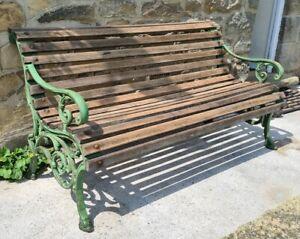 A Stunning Rare Coalbrookdale Cast Iron & Teak Wood Garden Bench.