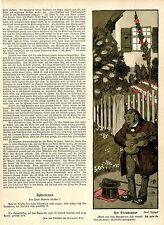 F.Spiegel Der Troubadour Karikatur Jugend-Vignette  Historischer Kunstdruck 1906