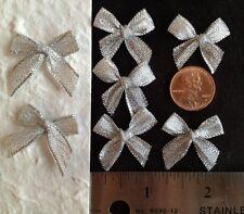 10 Silver Pre-tied Metallic Bows Weddings Anniversary Cards Scrapbooks Christmas