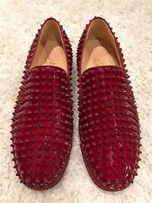 NIB Christian Louboutin Roller Boat Carmin Red Spike Patent Low Sneaker Flats 41