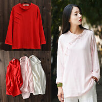 Women's Chinese Style Casual Long Sleeve Loose T Shirt Cotton Linen Blouse Tops