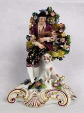 Antique 19thc Fine Edme Samson Chelsea Style Bocage Figurine Musician & Dog