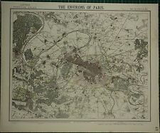 1883 LETTS MAP ~ ENVIRONS OF PARIS CITY PLAN STATION FORT PARKS