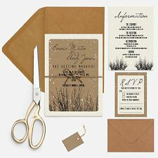 RUSTIC WOODLAND textured and kraft wedding invitation package with envelopes