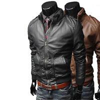 UK Man Men GENUINE Leather Jacket Biker Coat Slim Fit Veste Homme Cuir M4pp3