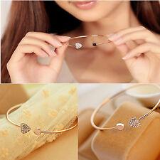 New Women Rhinestone Love Heart Rose Gold & Silver Bangle Cuff Bracelet Jewelry