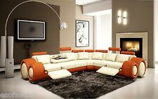 Free Shipping 4087- Orange and Off-White Bonded Leather Sectional Sofa Furniture