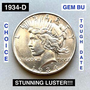 1934-D Peace Silver Dollar - BU CHOICE GEM UNCIRCULATED - BEAUTIFUL LUSTER