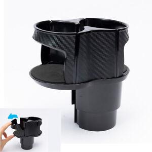 Car Cup Mount Universal Adjustable Drink Bottle Organizer Carbon Fiber Pattern