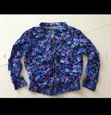 H&M Top Strickjacke Jacke Blouson Blumen Blau Rosa 100 % Viskose S.Guter Zustand