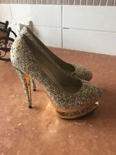 Women High Heels Suede Leather Gems Size 4