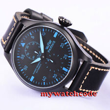 47mm parnis black dial blue marks PVD power reserve automatic mens watch P425
