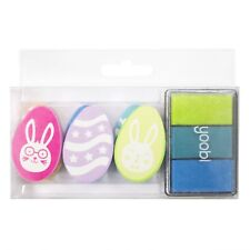 New Yoobi 6-pc Rubber Stamp Set + 3-color Ink Pad Wood Mounted Easter Egg