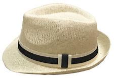 Mens Summer Lightweight Straw Fedora Hat Short Brim With Grosgrain Band Cream