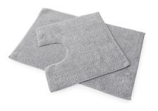 Premier 100% Cotton Bath and Pedestal Mat Set - Grey