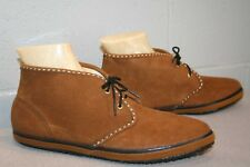 8 NOS Vtg 60s 70s Moccasin ANKLE BOOT LaCrosse Solaires BROWN SUEDE BOOTIE Shoe