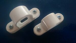 Pvc spacer bar saddle 20mm-25mm white finish for electrical wiring.