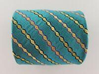 Paul Fredrick Mens Tie Green Blue Gold Striped Silk Neck Tie  W3.5'' L58''