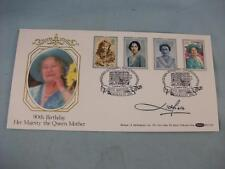 '90th Birthday Queen Mother' signed Litchfield Benham F.D.I. Silk Stamp Cover