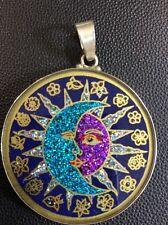 "$72 #Sun #Moon #Yin #Yang Lapis Gemstone Pendant Necklace 1 5/8"" Sterling Silver"