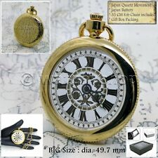 GOLD Antique Style BIG Size Open Face Quartz Pocket Watch Fob Chain Gift Box 197