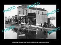 OLD LARGE HISTORIC PHOTO OF GOLDFIELD NEVADA, THE HARDWARE & DRUG STORE c1900