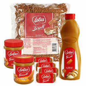 Lotus Biscoff Biscuits, Spread, Crumble or Caramel Topping Sauce (1 Supplied)