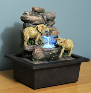 Garden Ornament Fountain Elephant Water Feature LED Lights - DS6015 - BOXED