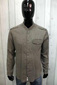 Camicia Calvin Klein Uomo Taglia XL Chemise Shirt Lino Man Logo Manica Lunga