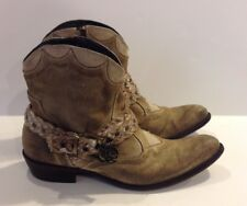 Mark Nason Rock Lives Boots Size 8 Distressed Brown Braid Rose Buckles Rare!