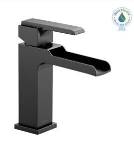 Delta 568LF-BLLPU Ara 1-Handle Bathroom Faucet Open Channel Spout in Matte Black