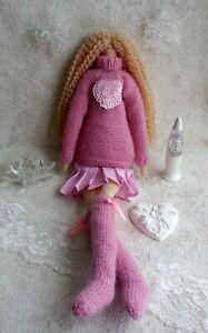 Handmade Doll. Tilda Doll. Winter Tilda Doll. Tilda in pink