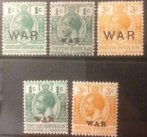 BRITISH HONDURAS 1916-1918 WAR TAX MH SELECTION