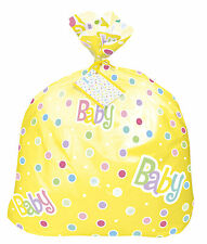 PLASTICA JUMBO Borsa Regalo GIALLO NEUTRO Unisex Baby Shower Party Bag