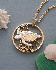 "Sea Turtle Pendant Necklace Bermuda One Dollar Hand Cut 1-1/8"" diam., ( # 37 )"