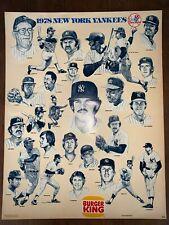 Vintage New York Yankees Poster 1978 World Series Champions Burger King Mint