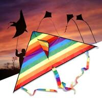1.2m rainbow triangle+30m Kite Line Single Line For Kids &Adults Easy To Fly New