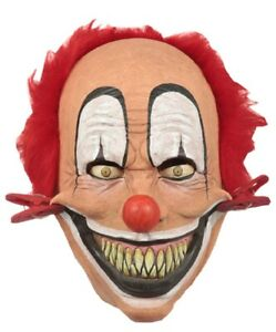 Tweezer Clothespin Clown Latex Mask Halloween Costume Accessory Horror Red Hair