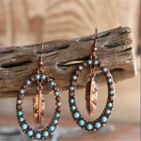 Fashion Women 925 Silver Turquoise Ear Hook Dangle Drop Leaf Earrings Jewelry