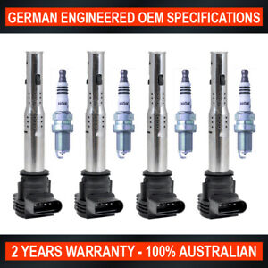 4x Ignition Coil & 4x NGK Iridium Spark Plug Upgrade Pack for Audi A3 2.0 FSI