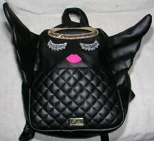 Luv Betsey Johnson Backpack Handbag Purse Angel w Wings Peek A Boo Quilted Black