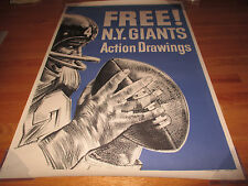 Rare 60s Hugh Free New York Giants Action Drawing Advertising 33x48 Poster