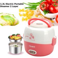 2 Layer Elektrischer Reiskocher Mini Rice Cooker Dampfgarer Lunch Box 220v 1.3L