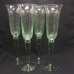 Mexican Hand Blown Champagne Flute Glasses Set of 4 Green