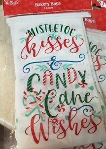 Christmas Mistletoe Kisses Bakery Bags 15 Count Cookies Candy Holiday