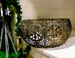 Moroccan Style Ornate Metal Bowl Iron Antique Vintage Decorative Home NEW - 20cm