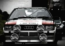 AUDI QUATTRO RALLY COCHE DE CARRERAS SPORTS PÓSTER CUADRO DECORACIÓN PARED