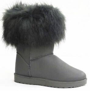 Damen Boots Gr.38 Grau Stiefel Lederoptik Stiefeletten Kunstfell gefüttert